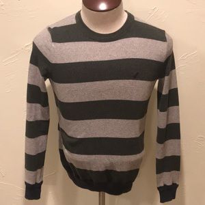 American Eagle Sweater Mens XS Green Gray Striped